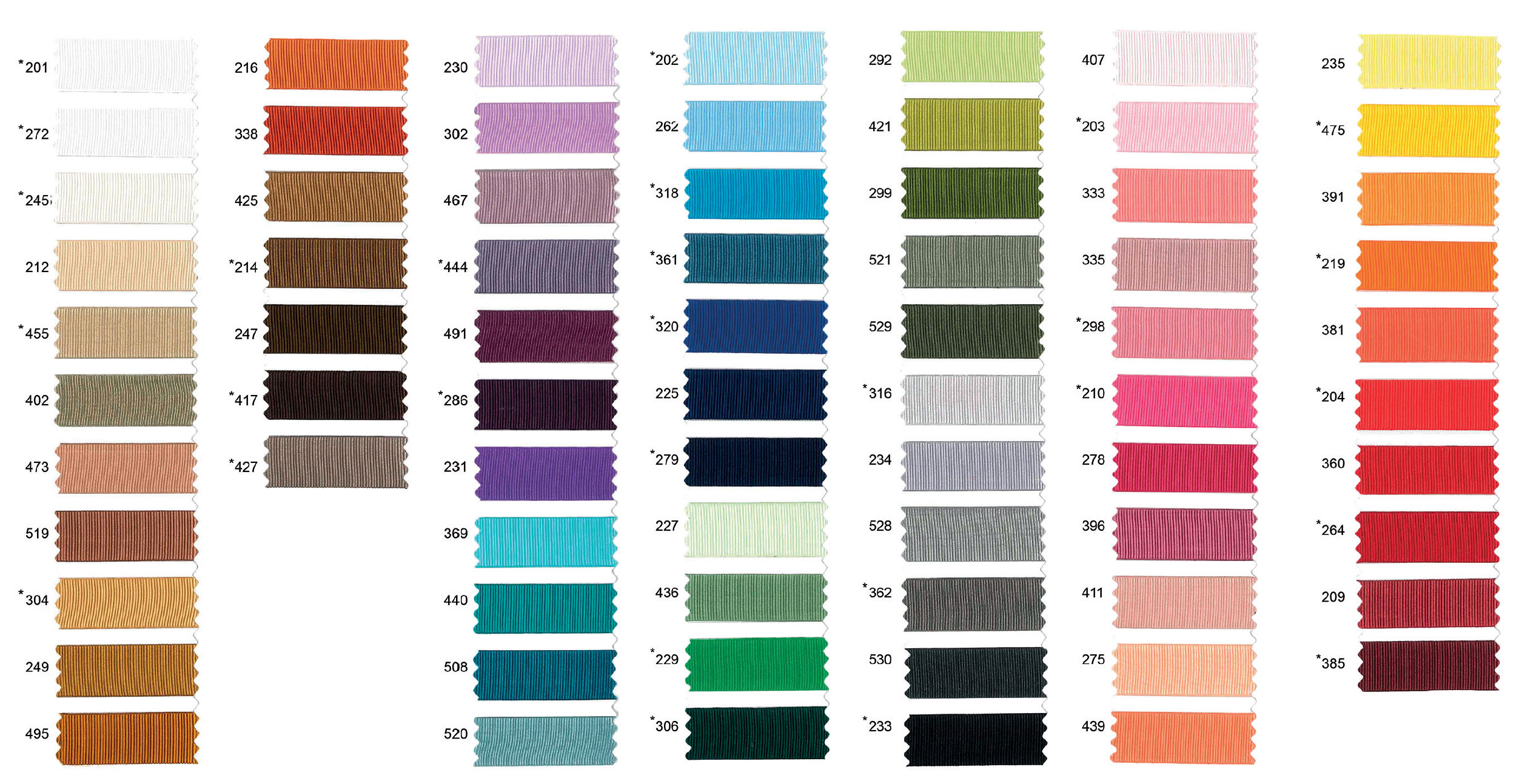 bespoke lampshades ribbon colour chart