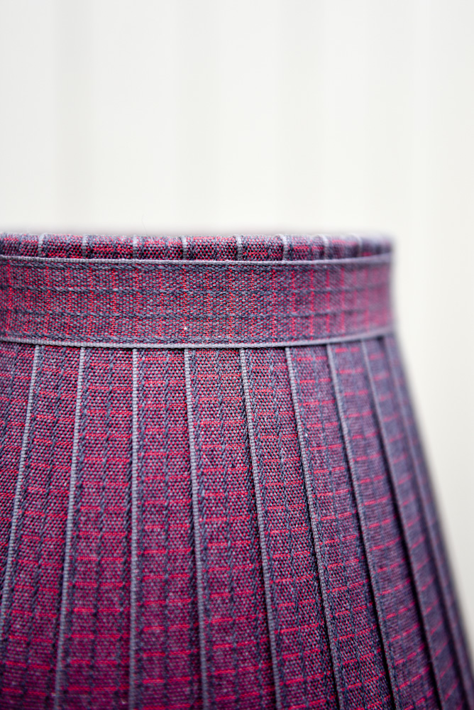 Red grey woven check ribbon Lampshade. www.bay-design.co.uk
