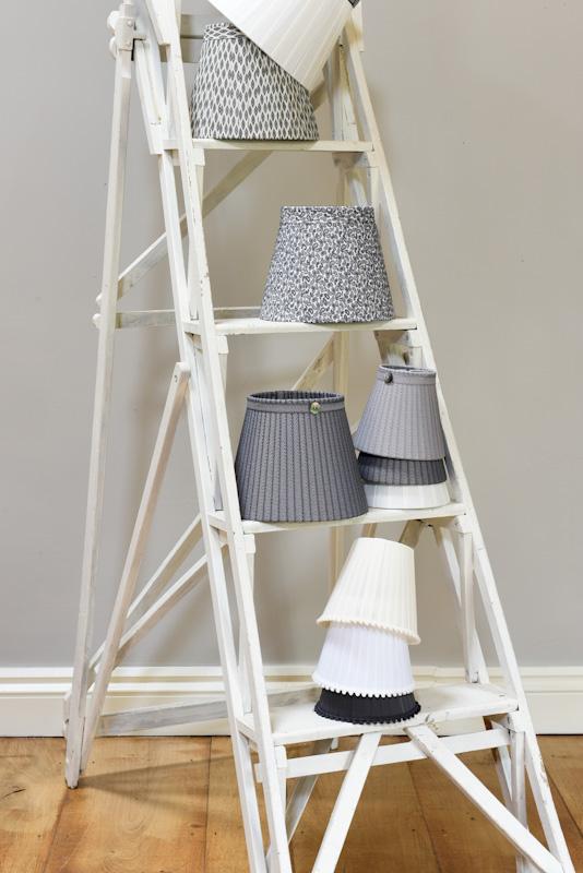 White ladders grey black white lampshades. www.bay-design.co.uk