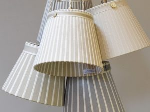 Ribbon lamp shades and lamp bases handmade by bay design shop the hamilton broad striped lamp shade in pale gold and warm gray ribbons have warmth and can give any room a beautiful finish read more aloadofball Images