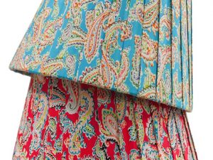 Ribbon lamp shades and lamp bases handmade by bay design shop great for accent colour is our new on trend amelia vivid lamp shade fiery red and bright blue paisley on trend florals for 2018 aloadofball Gallery