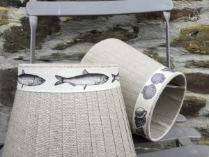 Mansfield Fish shell printed linen ribbon lampshade. www.bay-design.co.uk