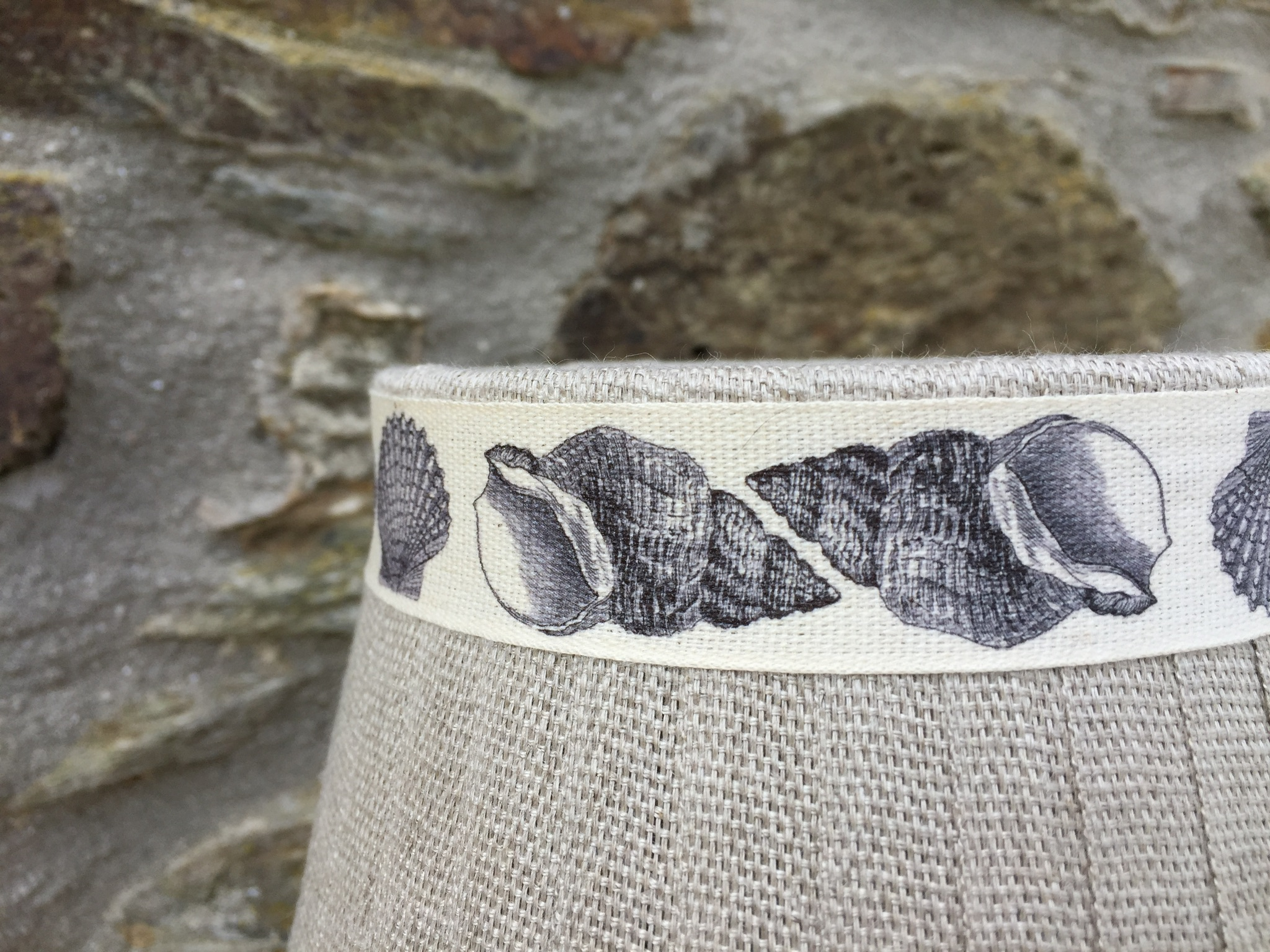 Mansfield shell printed linen lampshade. www.bay-design.co.uk