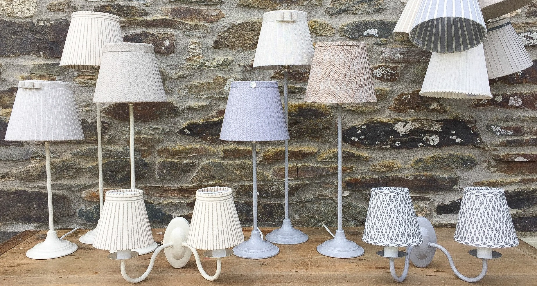 Assorted metalware painted ivory grey wall lights lamps bases. www.bay-design.co.uk