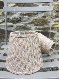 "Capucine Lampshade Tartan cotton 7.5""& 5"" Brown Tartan. www.bay-design.co.uk"