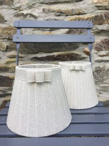 Francoise Broad & Narrow Bow edged Linen Lampshades. www.bay-design.co.uk