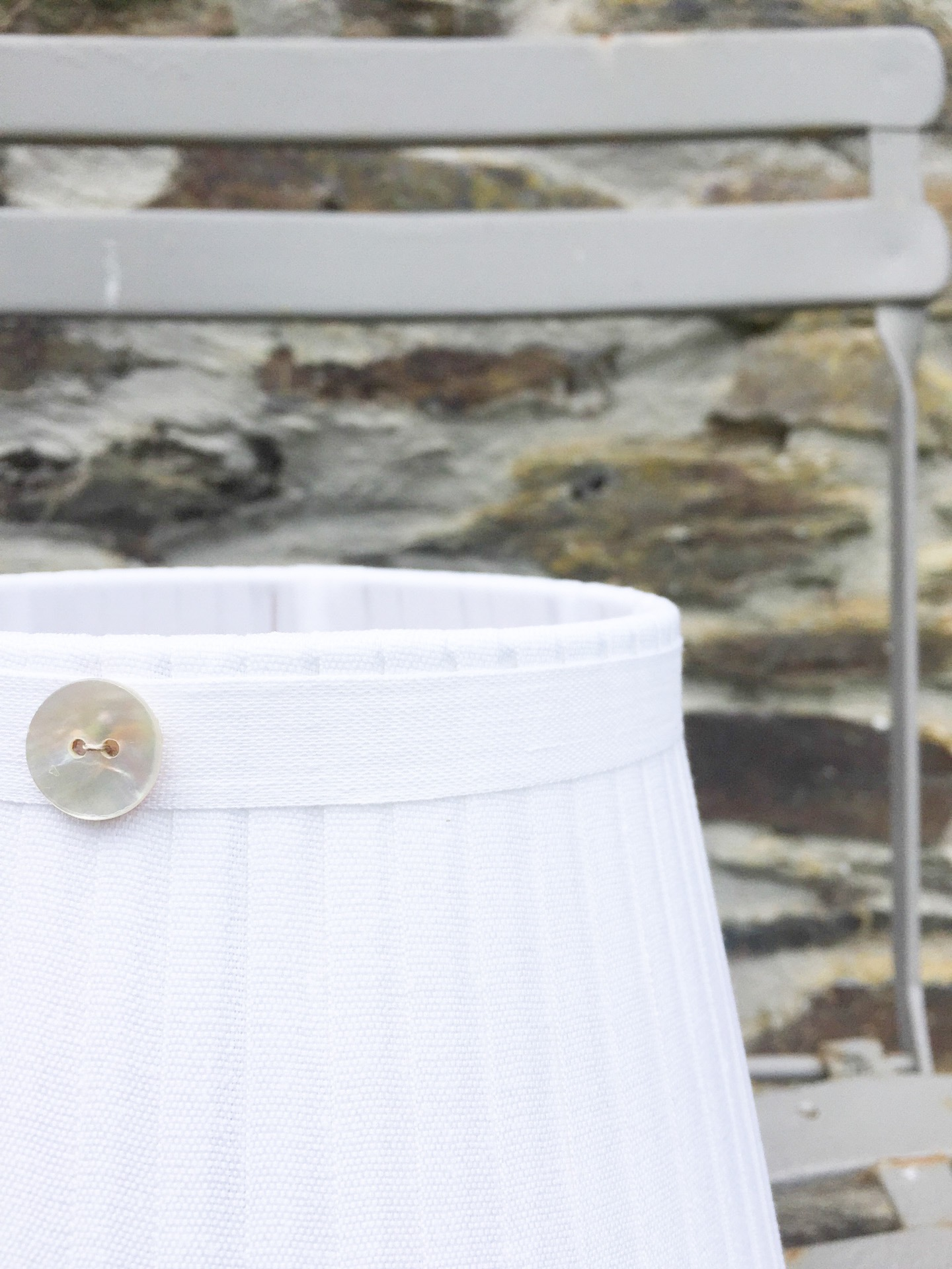 Grace whisper white linen mother of pearl button. www.bay-design.co.uk