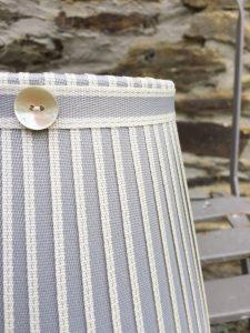 Hamilton warm grey ivory stitched edge ribbon lampshade. www.bay-design.co.uk