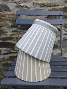 Broad stripe grey gold ivory edged Lampshade. www.bay-design.co.uk