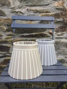 Broad striped ivory edged Lampshade grey gold. www.bay-design.co.uk