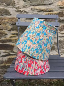 Amelia Vivid large Paisley Lampshade Firery Red and Bright Blue. www.bay-design.co.uk
