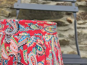 Amelia Vivid large Paisley Lampshade Firery Red close. www.bay-design.co.uk