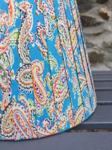 Amelia Vivid large Paisley Lampshade Bright Blue close www.bay-design.co.uk