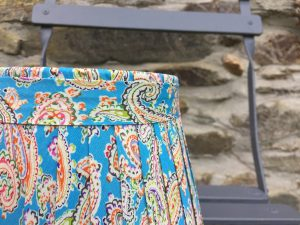 Amelia large Paisley orange green Lampshade - Bright Blue www.bay-design.co.uk