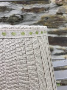 Laurent Ribbon Lampshade Linen Apple green dots banding. www.bay-design.co.uk