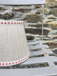Laurent Linen Lampshade double cherry dot banding. www.bay-design.co.uk