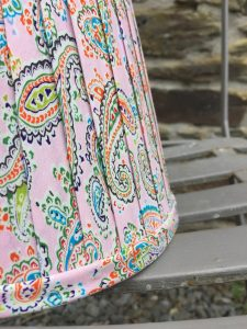Amelia large Paisley pink blue orange ribbon lampshade. www.bay-design.co.uk