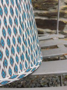 Giselle Aqua grey white ikat ribbon lampshade. www.bay-design.co.uk