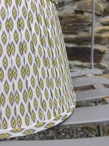 Giselle Lime grey white ikat ribbon lampshade. www.bay-design.co.uk