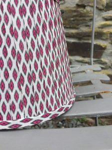 Giselle Fushsia pink grey white ikat ribbon lampshade. www.bay-design.co.uk