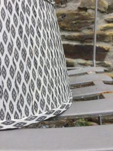 Giselle cool white grey ikat ribbon lampshade. www.bay-design.co.uk