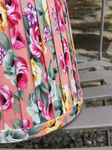 Genevieve coral pink yellow green floral ribbon lampshade. www.bay-design.co.uk