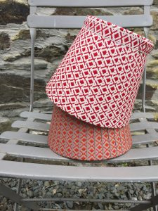 Lydea woven lampshades diamonds red orange www.bay-design.co.uk