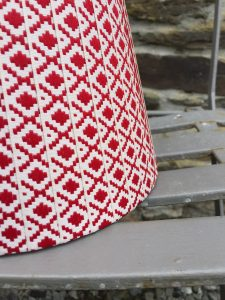 Lydea Cherry Red on off white woven diamond ribbon lampshade. www.bay-design.co.uk