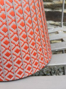 Lydea woven taupe and orange diamond weave Ribbon Lampshade www.bay-design.co.uk