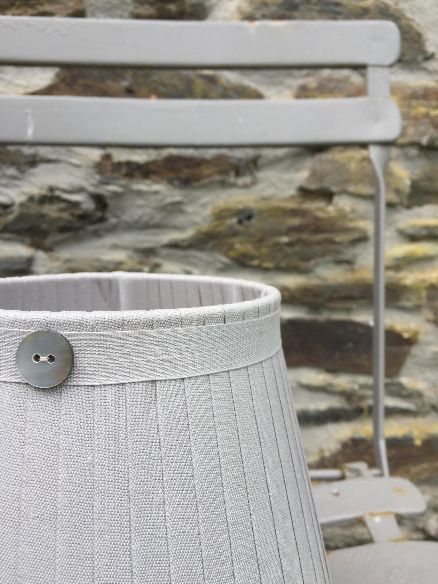 Grace Linen cool gray ribbon Lampshade button www.bay-design.co.uk