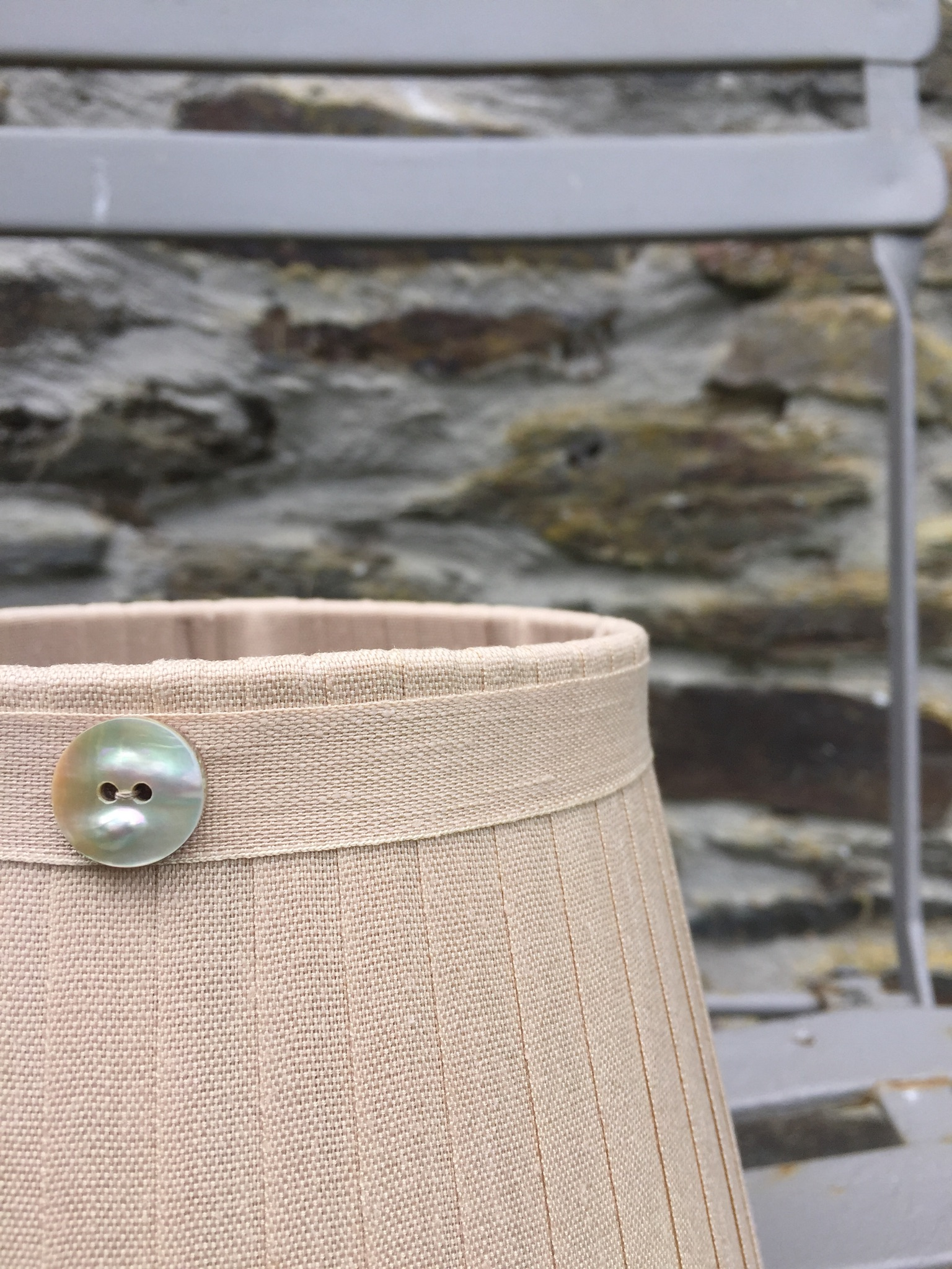 Grace Linen Lampshade gold button mother of pearl. www.bay-design.co.uk