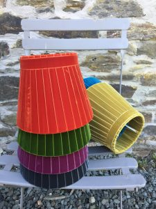 Crawford Velvet multi coloured Ribbon Lampshades. www.bay-design.co.uk