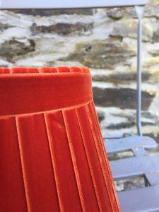 Crawford Velvet Blood Orange Lampshade. www.bay-design.co.uk