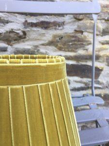 Crawford Velvet plus Ribbon Lampshade Yellow ochre. www.bay-Design.co.uk