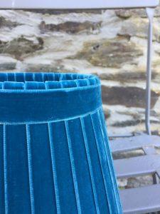 Crawford Velvet Deep Teal Plush Ribbon Lampshade. www.bay-design.co.uk
