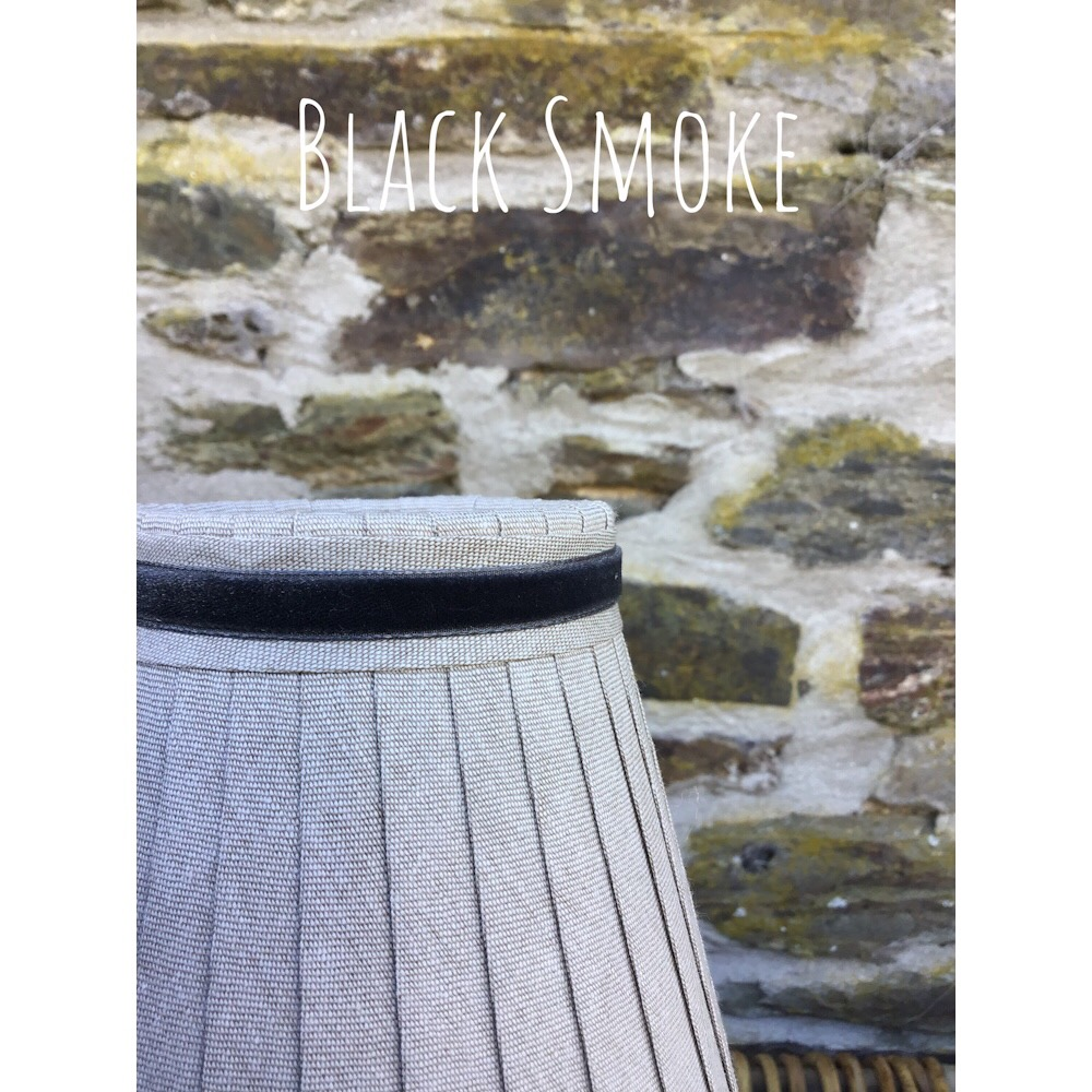 Linen ribbon lampshade with narrow Velvet Trim in Black smoke
