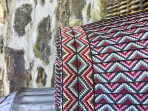 Jacquard zigzag multi coloured ribbon lampshade