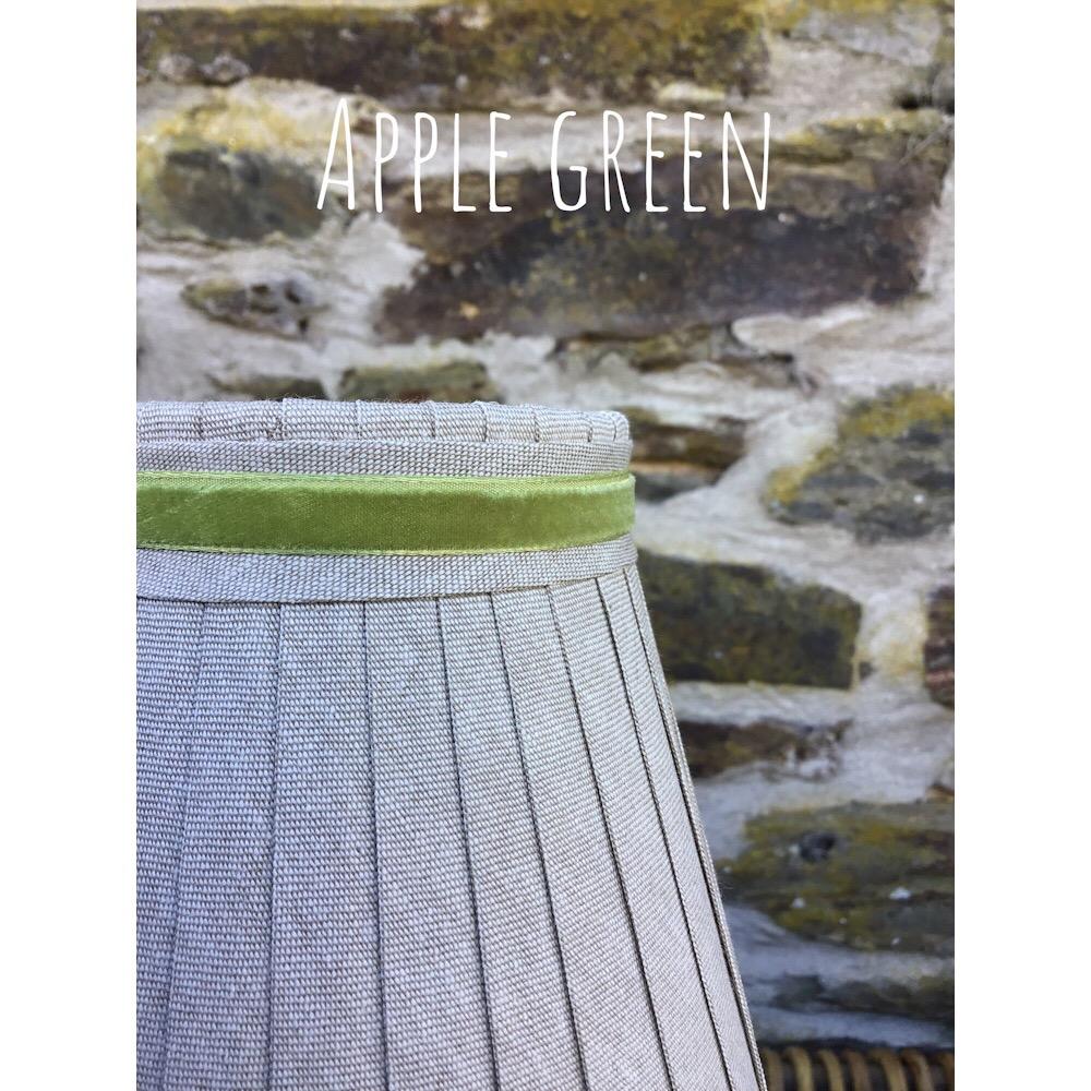 Linen ribbon lampshade trimmed with Apple green narrow velvet ribbon