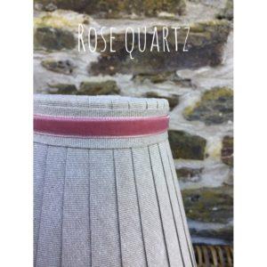Linen ribbon trimmed with velvet rose quartz ribbon