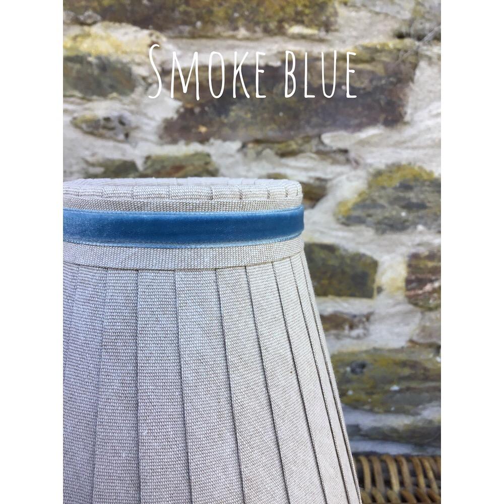 Linen ribbon trimmed narrow Velvet in Smoke blue