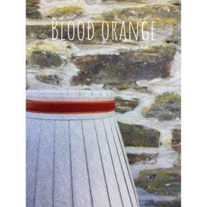 Linen ribbon lampshade trimmed with narrow blood orange velvet ribbon