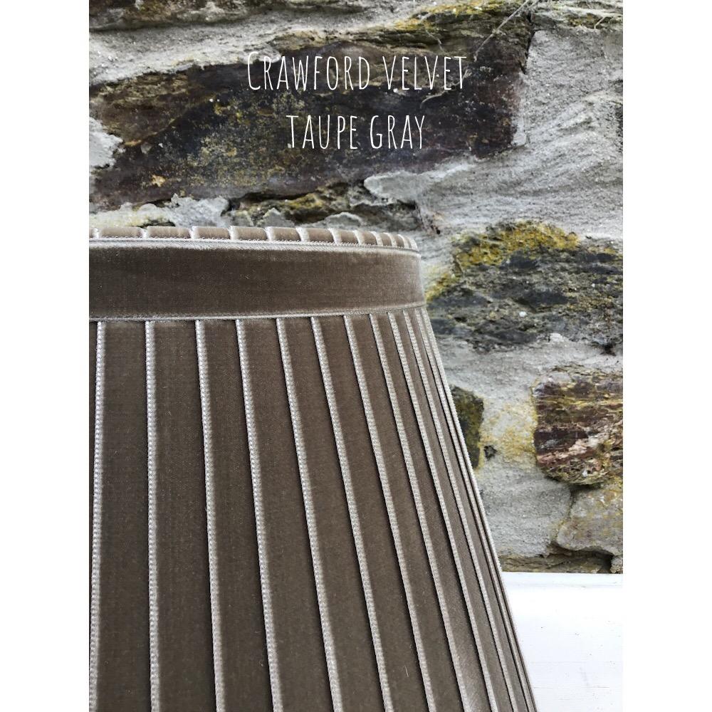 Velvet ribbon lampshade in taupe gray