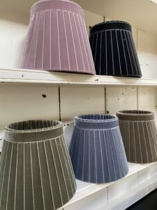 Soft colour velvets angled on dresser