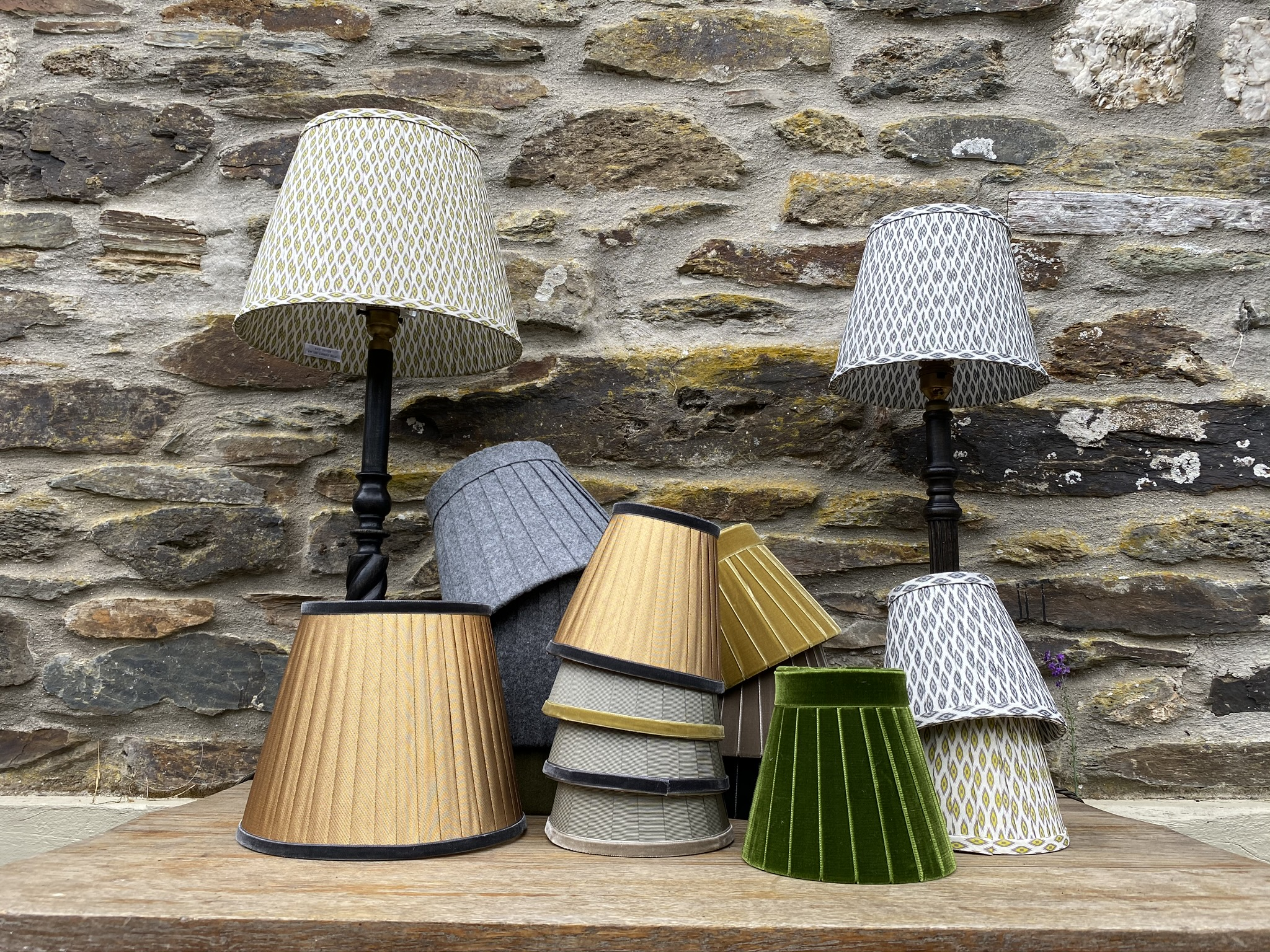 Collection of ribbon lampshades in gold grey and green