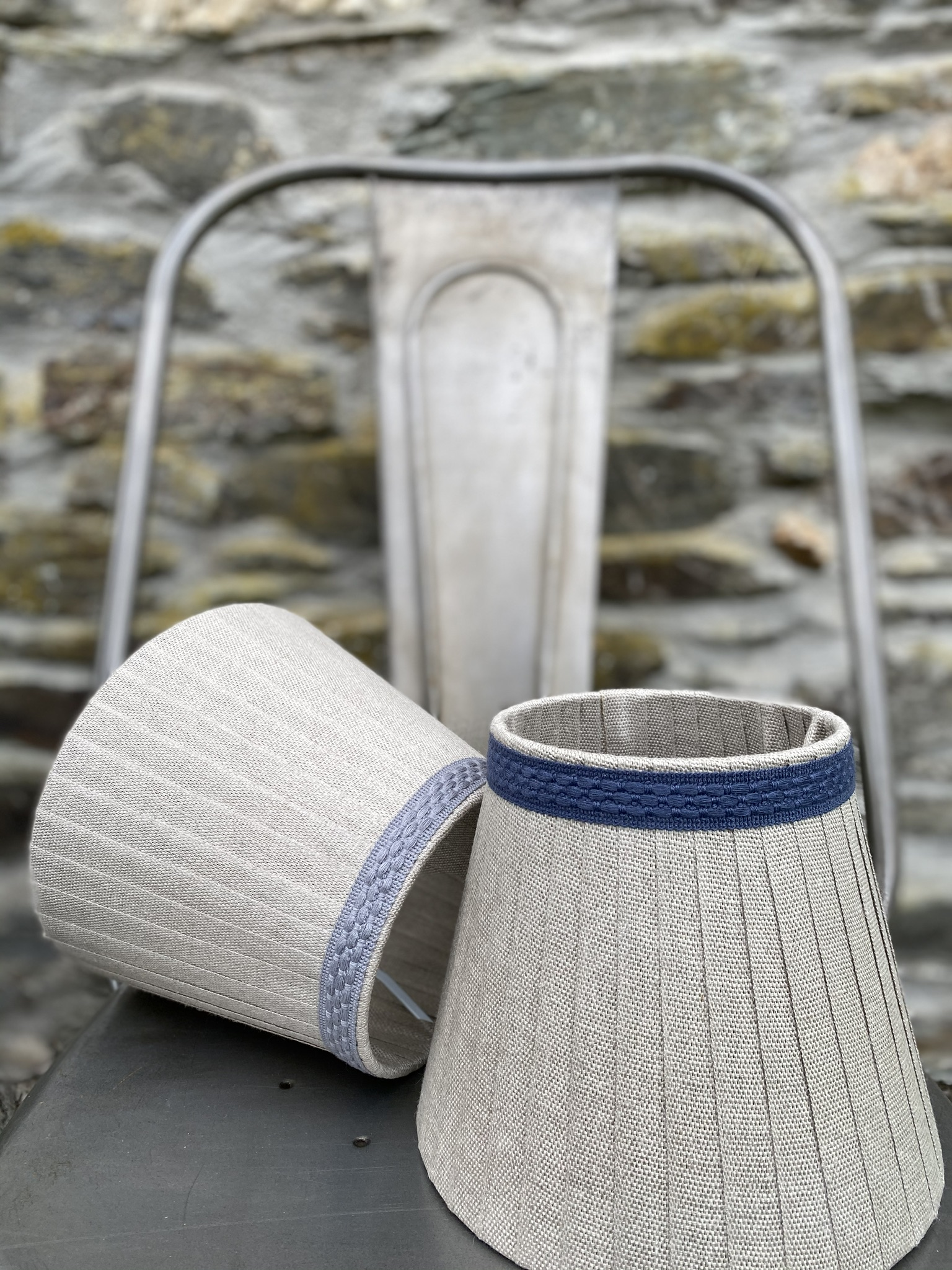 Definite Gray & Inky Blue bands on natural linen